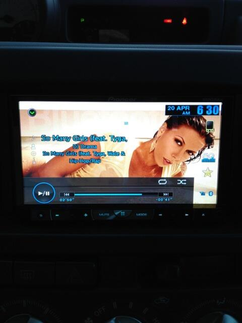 Cont. and @RachelStarrxxx as a background on my car stereo.