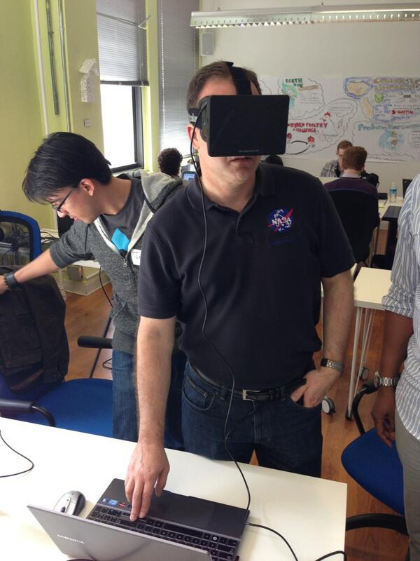 #spaceapps RT @glennwester #NASA astronaut Ron Garan trying the Oculus Rift @Astro_Ron @Oculus3D @SpaceAppsNYC pic.twitter.com/1JuXJ2kD8d