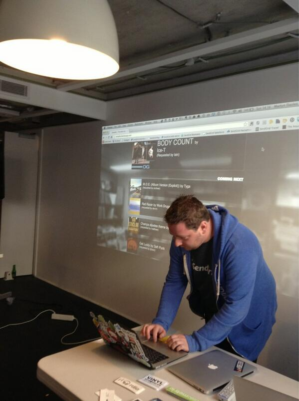 Our own @martynrdavies demoing Remalio - #sendgrid and @Rdio APIs playing together for hackathon fun! #mhdparis pic.twitter.com/5cepkwoild