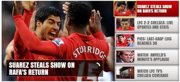 Amazing! The Liverpool website makes no mention of Luis Suarezs bite on Branislav Ivanovic