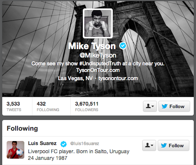 You couldnt make this up: Mike Tyson now follows Liverpools Luis Suarez on Twitter