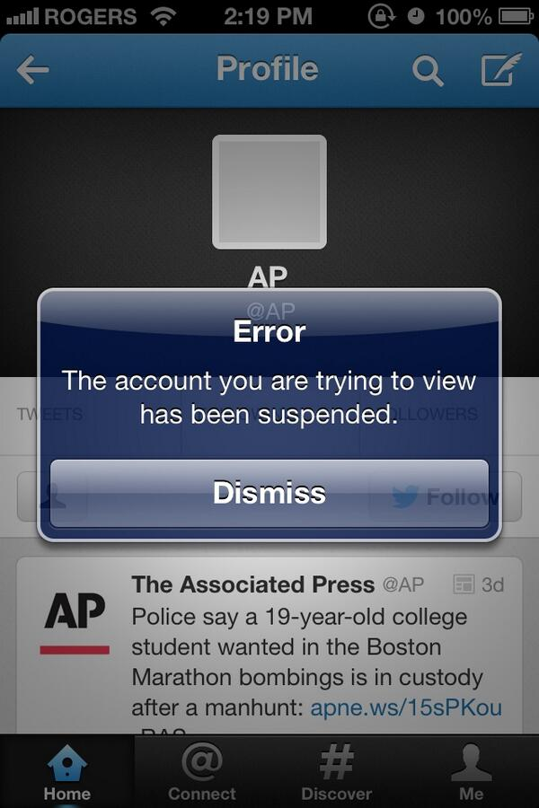 Awkward. MT @SamHananelAP: Please Ignore @AP Tweet on explosions, we've been hacked. pic.twitter.com/LZ74EvvEP4
