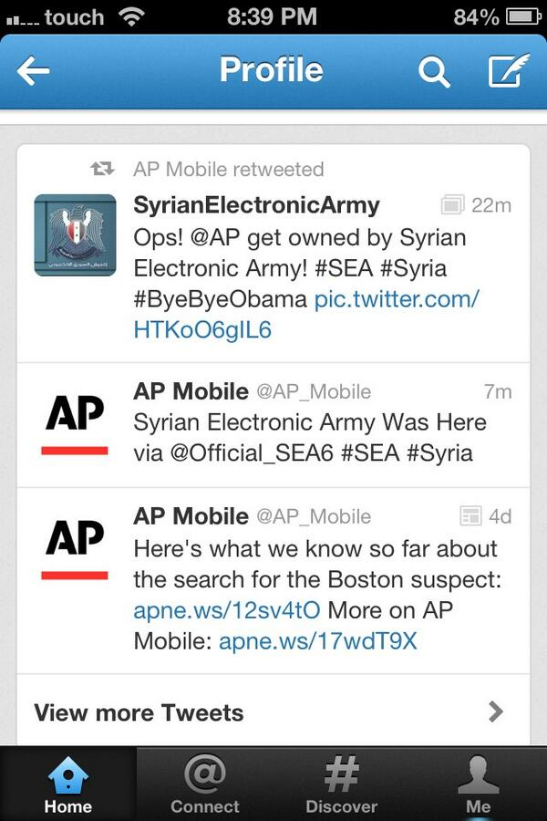 One more Associated Press account @AP_Mobile hacked by the Syrian Electronic Army. pic.twitter.com/KFLKNgEA2n