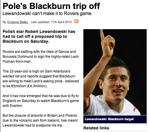 Epic screenshot: Blackburn nearly signed Robert Lewandowski for £4.3m in 2010