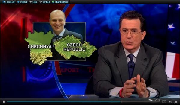 Če(čen)sko se dostalo i do pondělního @ColbertReport - i když jen krátce http://www.colbertnation.com/the-colbert-report-videos/425690/april-22-2013/boston-bombers http://pic.twitter.com/T5PTCkmcJS