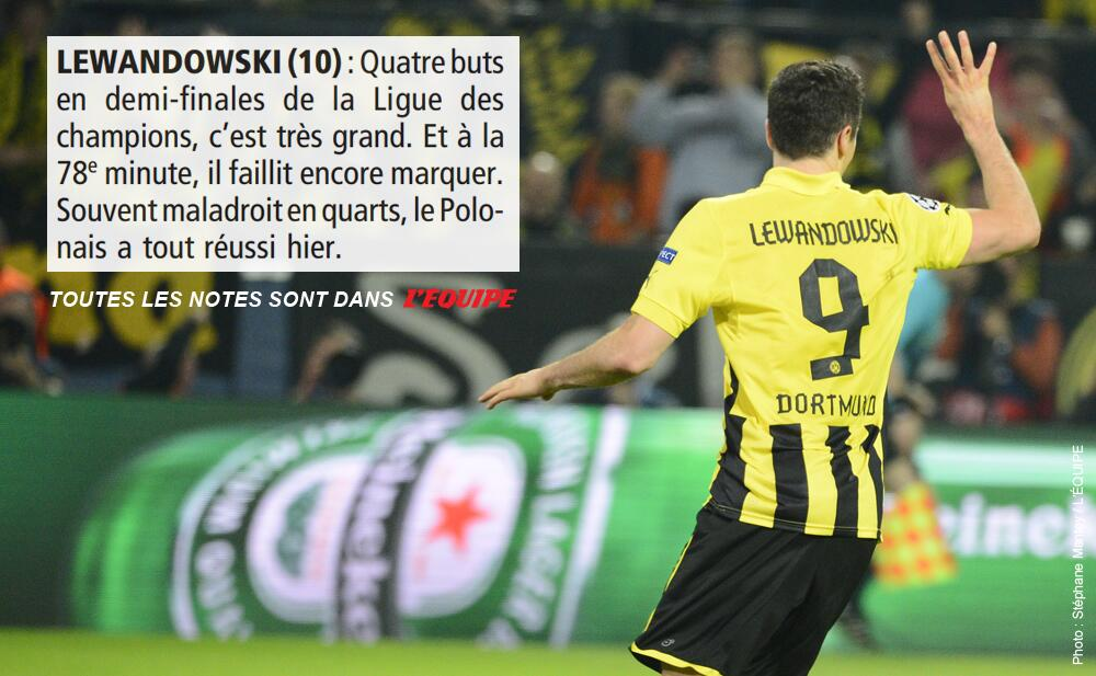 10/10: LEquipe & Gazzetta award Robert Lewandowski maximum ratings v Real Madrid