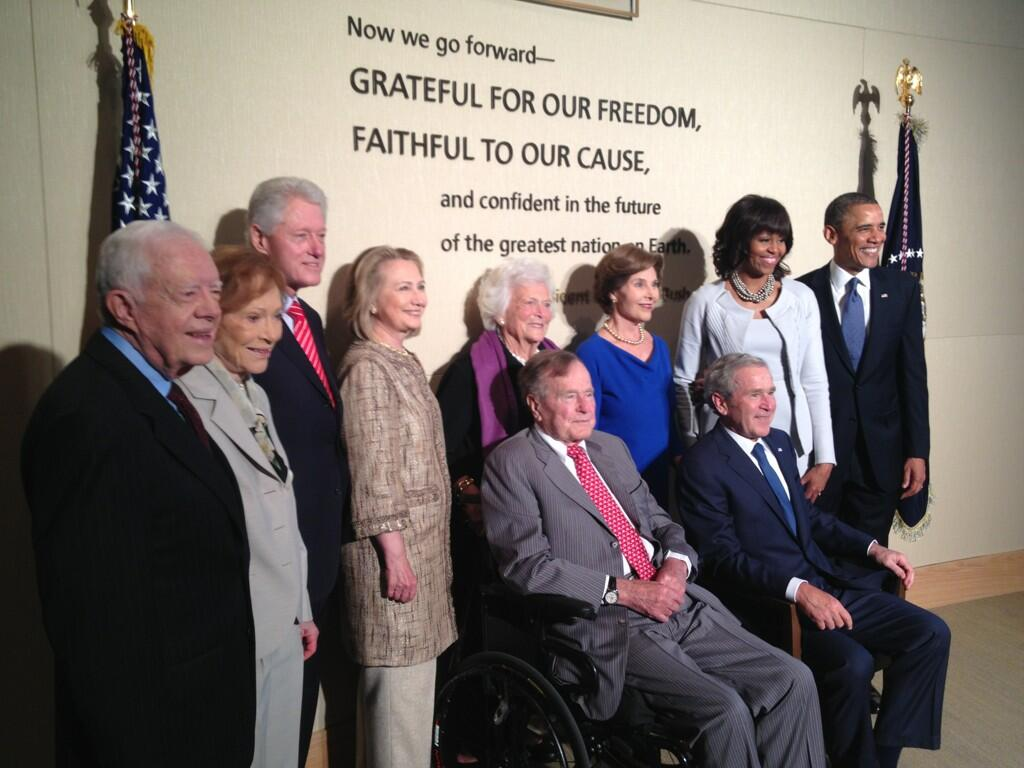 All five living presidents share stage to honor President Bush, dedicate his library