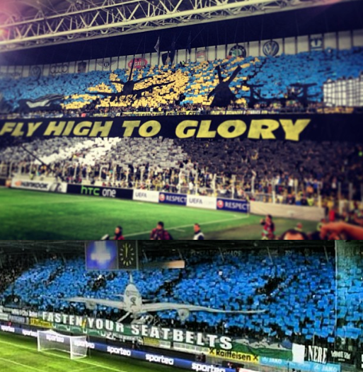 %name Pictures: Fenerbache fans display a Fly High To Glory tifo ahead of the Benfica match