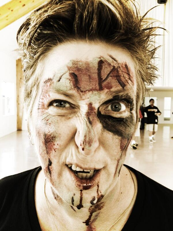 Auckland Libraries' Anne Dickson in zombie makeup