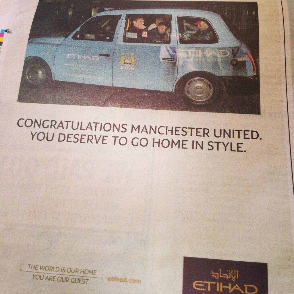 Picture: Man City sponsors Etihad punk Man United with an advert in the Manchester Evening News