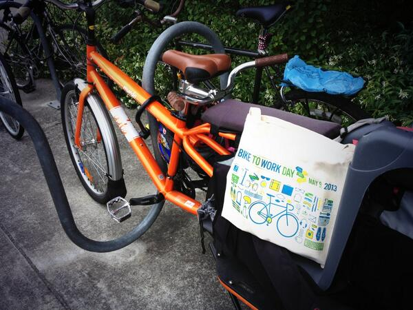 Yay! I bike to work everyday, but today I got treats! Go cargos go! #bike2berk #biketowork pic.twitter.com/sS0VmaccEG