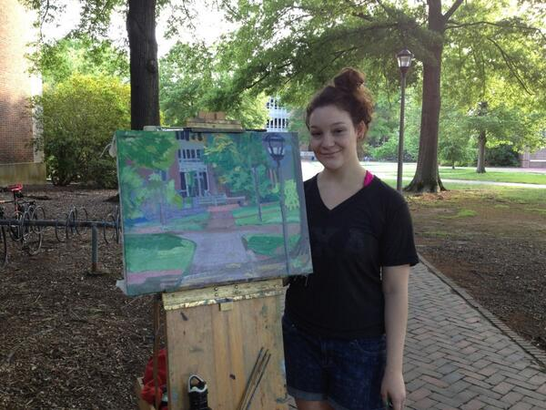 Graduating senior, Alison Klein, painted a fantastic picture of IT's home, Jones Hall. #wmgrad #tribepride pic.twitter.com/4sloumzc4B