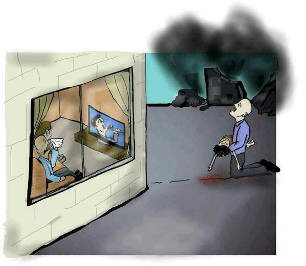 كاريكاتير معبر وفي الصميم لحال بعض العرب الذين  يتابعون الأن عرب ايدو