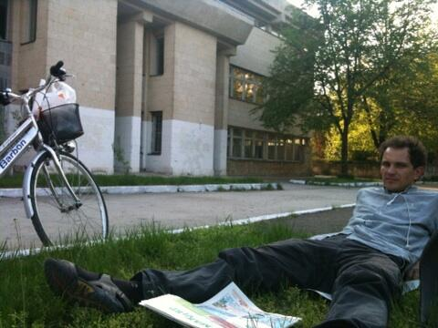 Aceasta e o parte din bicicleta furată, fotografiată primăvara asta