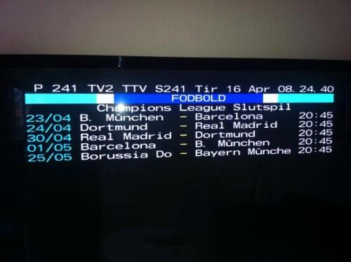 Picture: Danish Teletext is clairvoyant after predicting a Bayern Dortmund CL final back in April