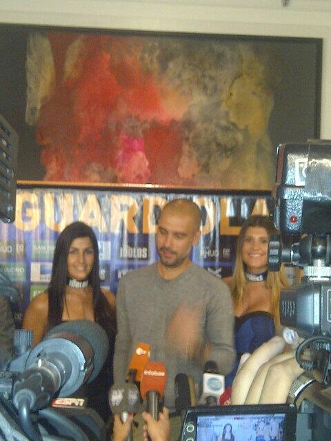 %name In Pictures: Bayern bound Pep Guardiola handed a female entourage on a visit to Argentina