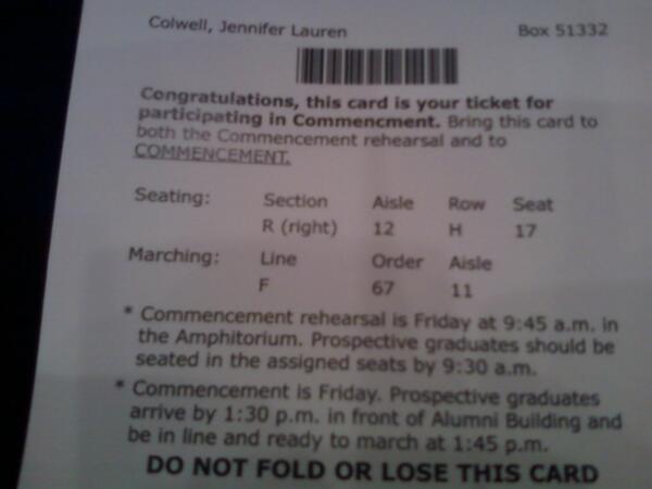 My ticket to graduate! #bjugrad pic.twitter.com/DNf97NcHrR