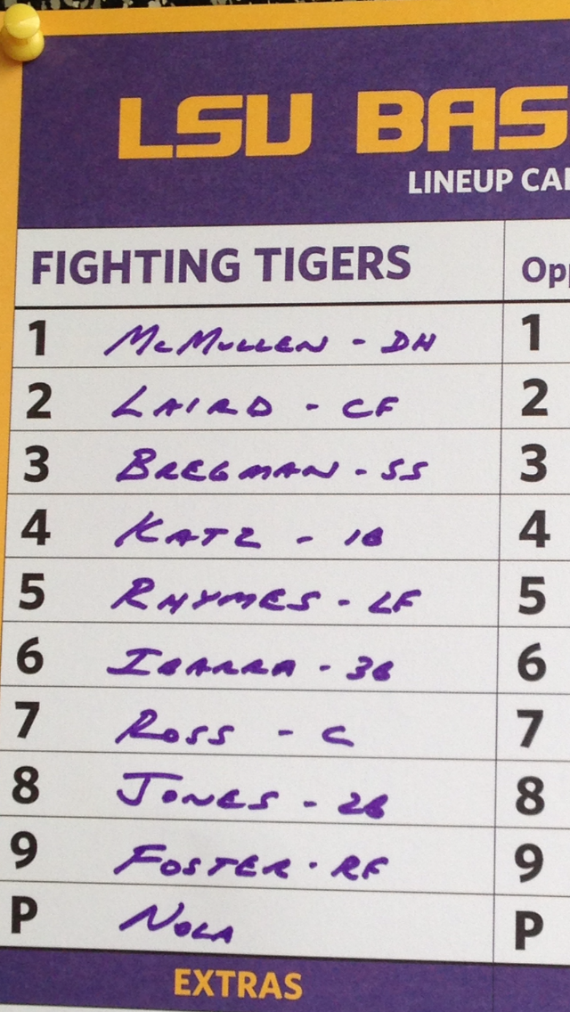Twitter / LSUbaseball: Starting lineup for LSU: ...
