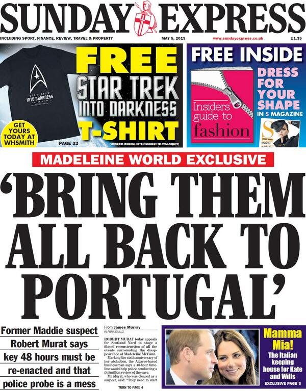 Sunday Express tomorrow  BRING THEM ALL BACK TO PORTUGAL BJc-n5JCMAAv9Oy