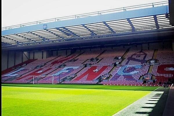 Picture: The Liverpool mosaic thanking Everton for their support over Hillsborough