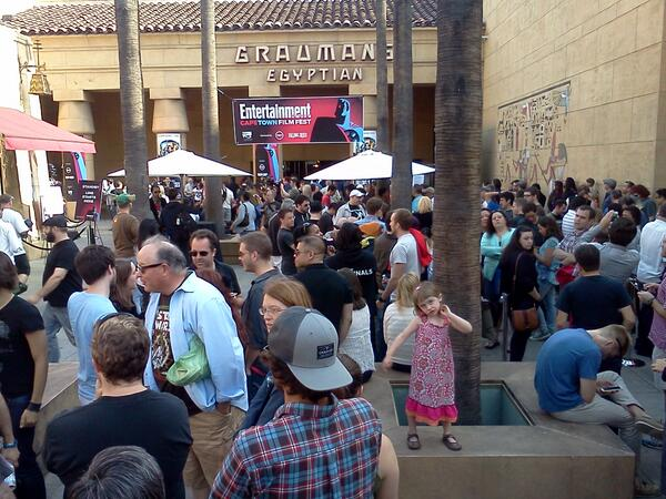 The courtyard of the Egyptian Theater filled with people before the 6 p.m. screening of Return of the Jedi.