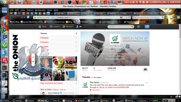 Syrian electronic army hacker takes credit for @TheOnion hack (pic: @mradamtaylor) http://pic.twitter.com/v6C1hjbqHd