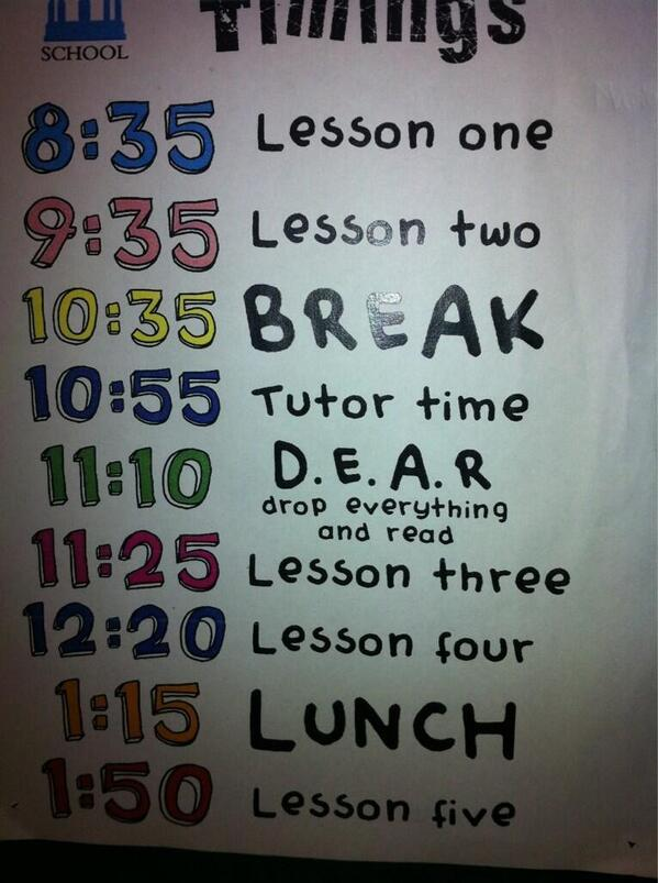 @literacychat #literacychat Give reading the same status as other lessons on the timetable pic.twitter.com/RRnBGMD9as