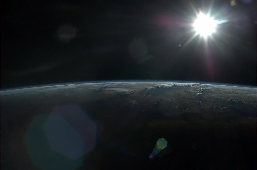 Sun and Earth, Photographed From International Space Station by Chris Hadfield, 7 May 2013