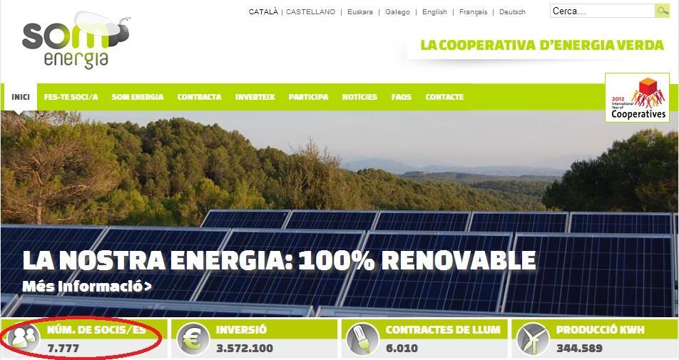 La Cooperativa de Energía Verde Som Energia alcanza lxs 7777 socixs