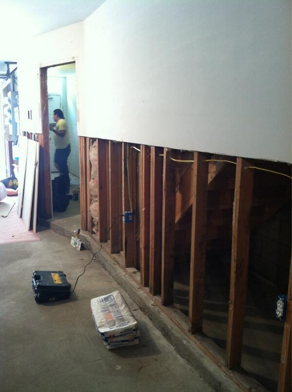 Finally getting the dry wall replaced in the garage and entrance. #superstormSandy #hoboken http://pic.twitter.com/s4BtJjVcfP