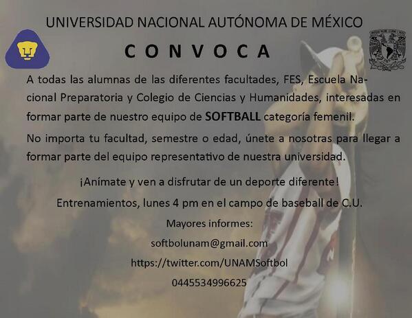ÚNETE al equipo de #Softballfemenil #UNAM  @DeportesUNAM @UNAMSoftbol http://t.co/dHpaDe5DBm