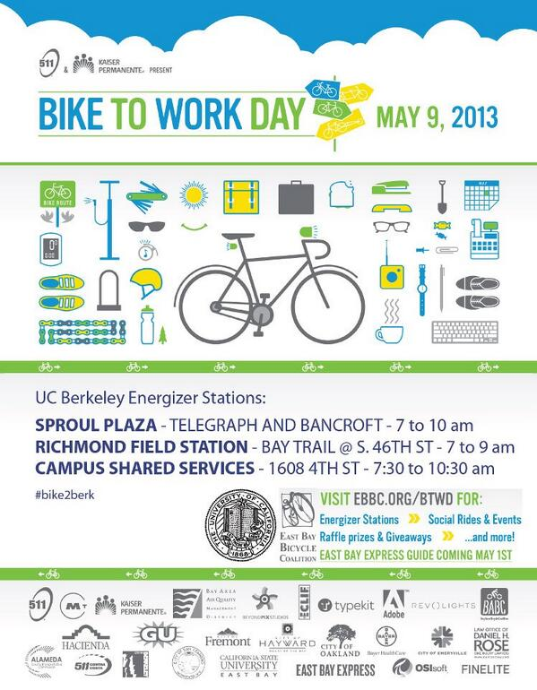 Bike to Work Day is this Thursday, 5/9! Use #bike2berk to share photos and stories of your commute. pic.twitter.com/zt3lWCGn03