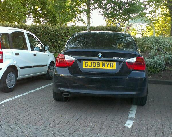 GJ08 WYR displaying Inconsiderate Parking
