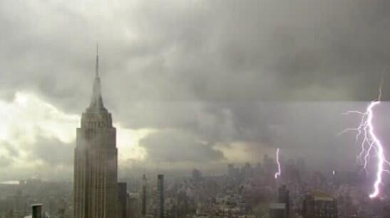 Photo: A roof cam captures cloud-to-ground lightning over Manhattan - via @JeffSmithABC7