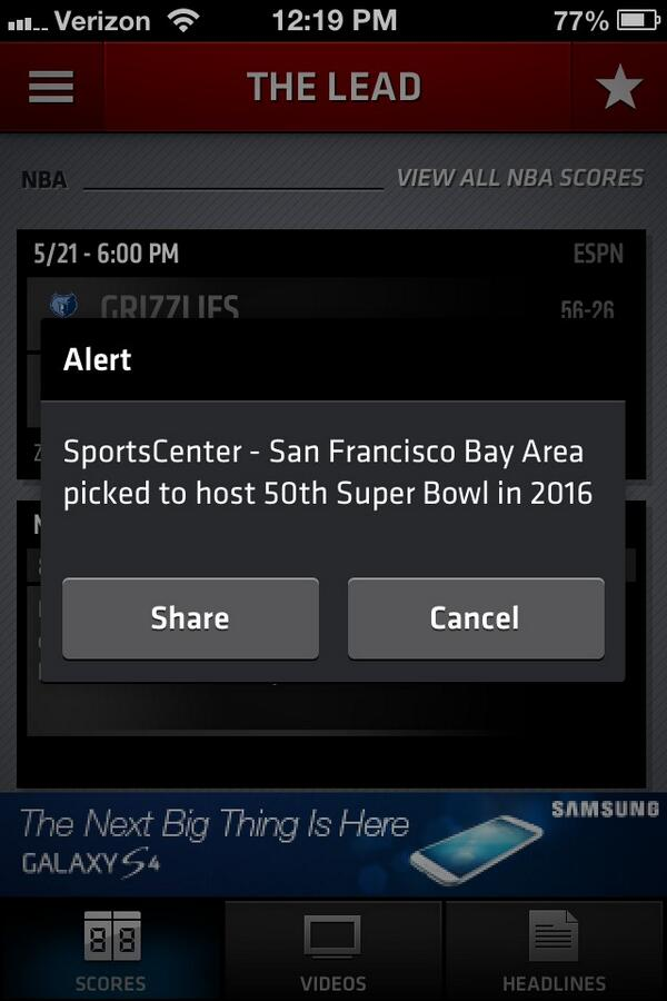 YES YES YES!!! Super Bowl 50 is coming to The Bay!!! #superbowl50 #SFSuperBowl pic.twitter.com/8iqourWSa1