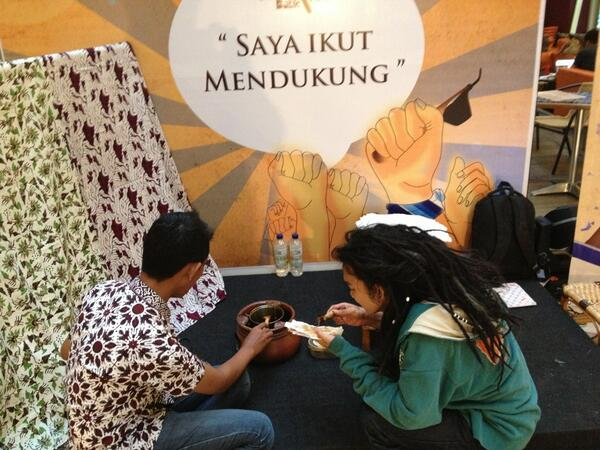 Tadi juga ada yg ikutan mini workshop batik lho! Ini dia #BatikTBiG