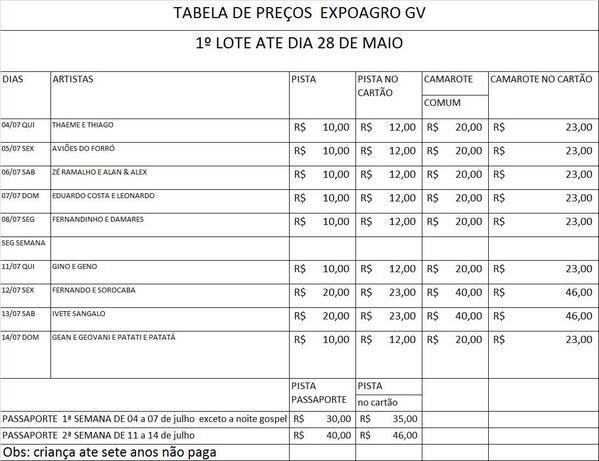 Preços para 1ºLote dos convites para #ExpoagroGV!! Mais uma realização @jwpromocoes http://t.co/TARYrqfQP4