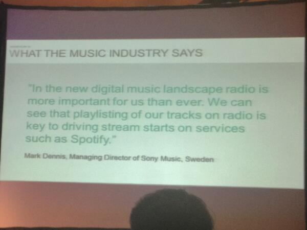 Sony Music Sweden about radio and spotify. #RainSummit pic.twitter.com/RqGNzvpQgw