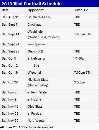 Illini football schedule