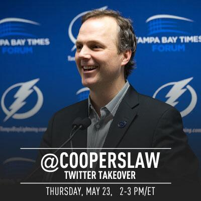 Reminder: @CoopersLaw takes over the #TBLightning Twitter in less than an hour to answer YOUR #BoltsSocial questions! pic.twitter.com/IWSizKDbNJ