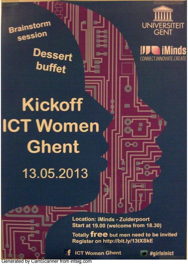 Tonight Kickoff ICT Women Ghent #girlsinict bit.ly/124OT7W #iMinds #UGent pic.twitter.com/J0f8es5u0H