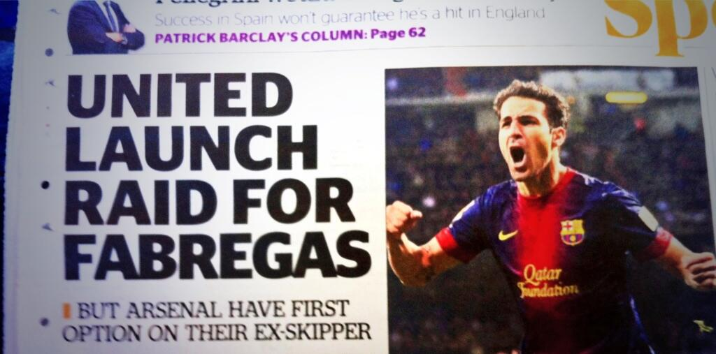 Evening Standard: Man United make moves to sign £20m Cesc Fabregas, Arsenal have first dibs