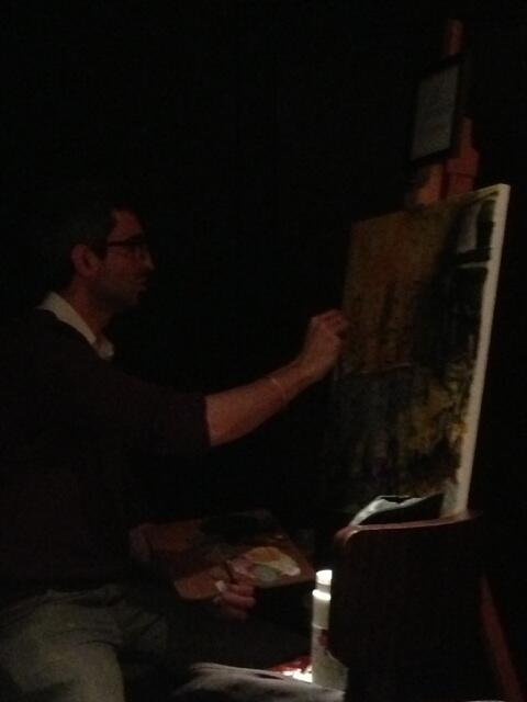 Here's Julius doing a live painting - a proper painting I tell you - not one of those cartoons... #downdem pic.twitter.com/kLjM4WV53m