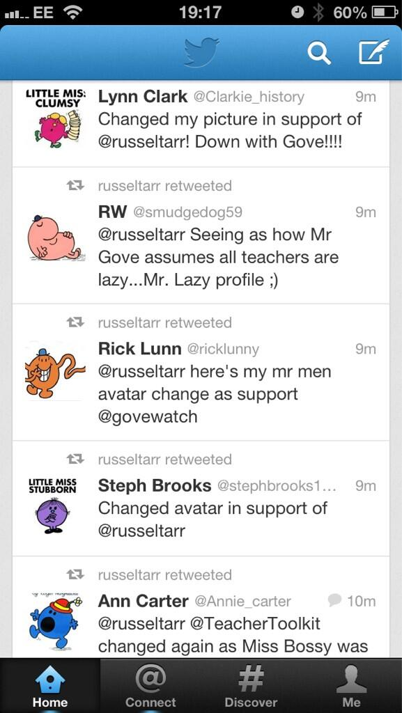 @russeltarr the power of teachers on twitter, a whole screen of Mr Men and Little Miss' http://pic.twitter.com/RM63dhH9I3