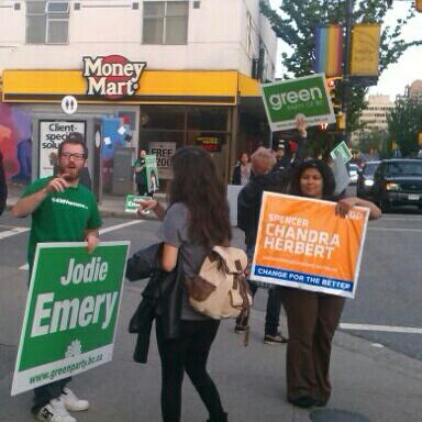 Sign off! NDP and Green signers on corner of Davie and Bute. #bcpoli. http://twitter.com/teambates/status/334499076676665344/photo/1