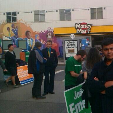 """""""We all get along, you know?"""" says NDP's  @SChandraHerbert, on corner with Green signers. #bcpoli #bcelxn pic.twitter.com/udHGHqKkzr"""