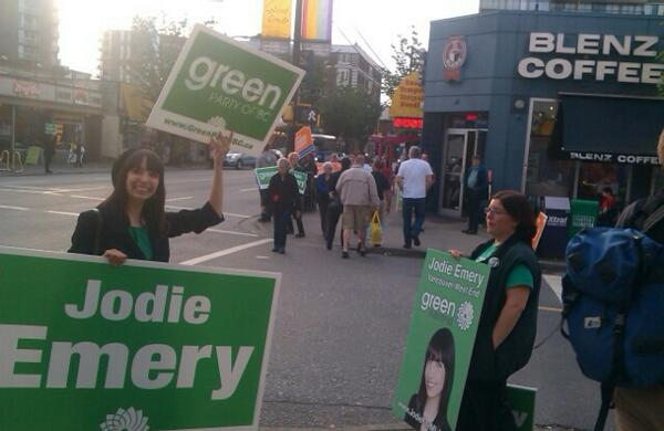 """Across the street: Green candidate @JodieEmery. """"Even if I don't get into government, I want our message to."""" #bcpoli pic.twitter.com/NO6nKq2svd"""