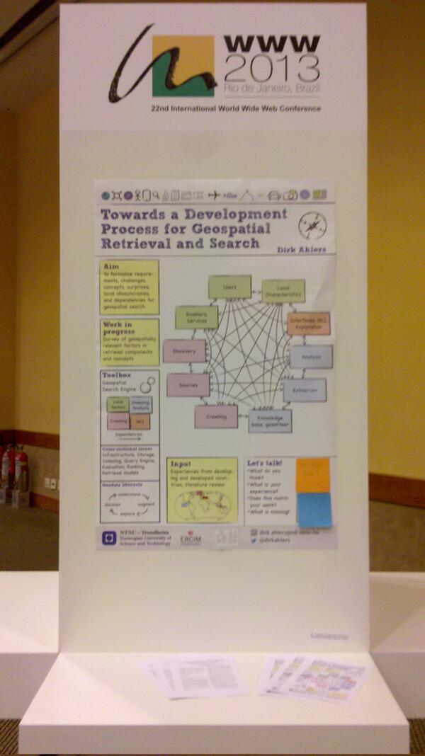 Interested in geospatial search? Come by at poster 80 for some interaction #www2013 pic.twitter.com/46U7U4HNSD