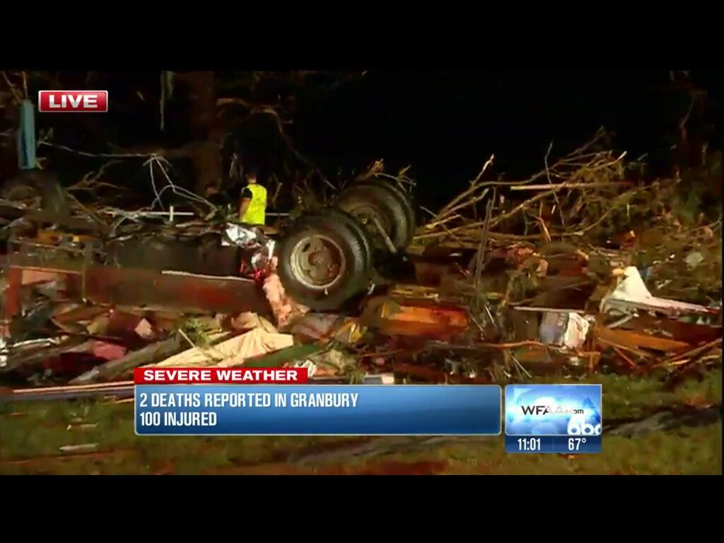 Damage photo via Twitter (WFAA screenshot)