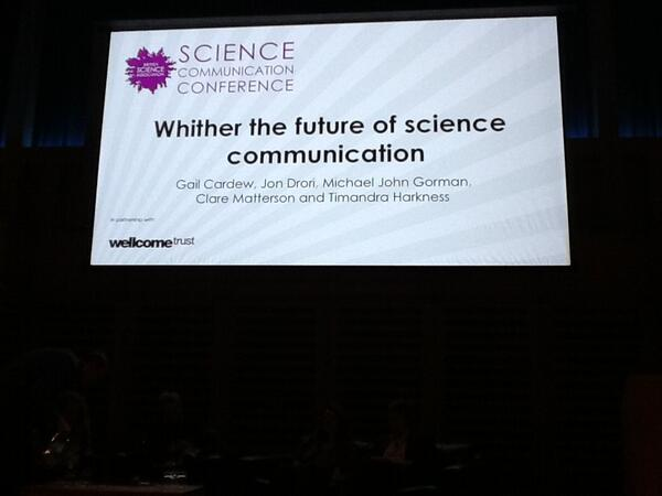 First up: Whither the future of sci comm? @gailsci @jondrori @michaeljohng @CEmatterson @TimandraHarknes #SciComm13 pic.twitter.com/axHroqAQut